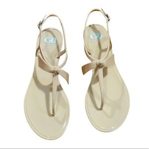 New Gianni Bini Ob-Sessed Bisque bow buckle sandal